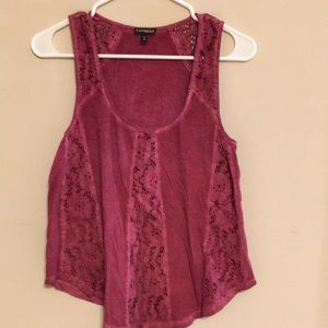 Express size Sm cranberry tank with lace